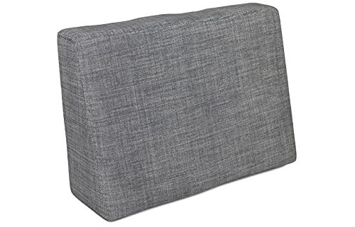POKAR Cojín-Respaldo (Lateral) 60x40x20/10cm para Europalés/Europalet, cojín para jardín o terraza, para sofá de paletas DYI, Espuma fría, Interior y Exterior, sin palés, Gris