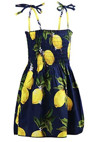 Sitmptol Kids Toddler Baby Girls Summer Dress Outfits Ruffle Strap Sunflower Print Tutu Skirt Sunsuit Beachwear Clothes 2-3T Navy Lemon
