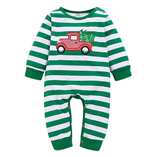 YOUNGER STAR Infant Baby Boy Girl Christmas Outfit Stripe Car Christmas Tree Embroidery Long-Sleeve Onesies Jumpsuit Pajama (Green&White, 6-12 Months)