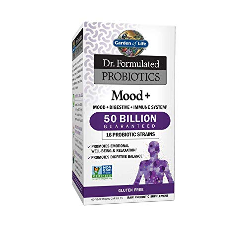 Garden of Life Dr. Formulated Probiotics Mood+ - Promotes Emotional Health, Relaxation, Digestive Balance - Non-GMO Probiotic Supplement, NSF Gluten Free - 60 Vegetarian Capsules (Shipped Cold)