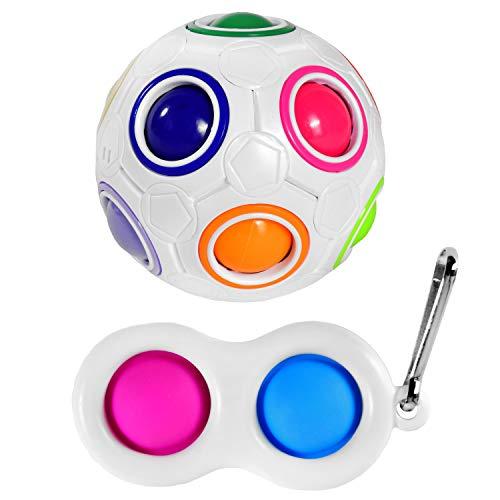 Magic Ball Regenbogenball mit bunten Kugeln & Push Pop it Bubble Fidget Toy Spiel im Set   Magischer Ball Zauberball Puzzle-Ball ideal als Geschicklichkeitsspiel Knobelspiel für Kinder & Erwachsene