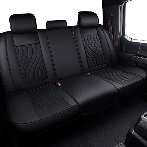 LUCKYMAN CLUB Rear Seat Covers fit for Crew Cab of Ford F150 F250 F350 F450 from 2004 to 2020 Back Bench Covers with Water Proof Faux Leather Easy to Clean (Black Rear Covers)