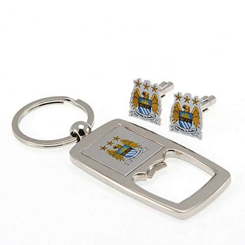 Manchester City F.C. Cufflinks and Keyring Bottle Opener Set