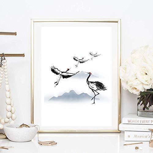 Kunstdruck Din A4 ungerahmt Kranich, Reiher, Vogel, Flug, Asiatische Kunst, Asien, Tuschemalerei, Druck, Poster, Bild