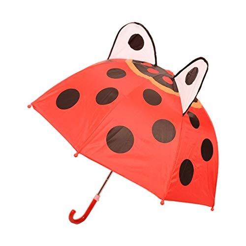 weichuang Paraguas para niños con orejas de animales para niños y niñas, mango largo, ligero, regalo de cumpleaños para la escuela, paraguas para niños (color: 1)
