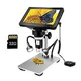 LCD Digital USB Microscope 7 in HD Screen 32 G TF Card, Circuit Board Repair Soldering PCB Coins,12mp Video Camera...
