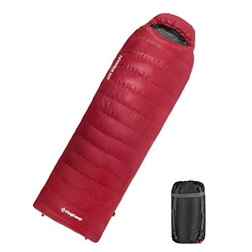 KingCamp Portable Oversize 100% Cotton Sleeping Bags for Adults+Women. Removable Zippered Liner and Pillow. Machine Washable Camping Bags for 3-4 Seasons Backpacking, Hiking, Outdoors (Goose-Down)