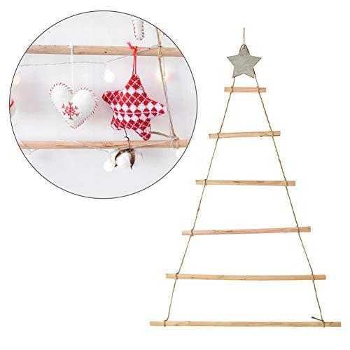 Urben Life kerstboom decoratieve houten ladder hangend met LED verlichte decoratieve ladder houten ladder Kerstmis dennenhouten kist wandbehang decoratie
