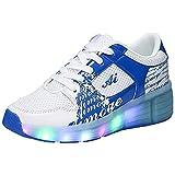 [STAR] ローラーシューズ LED 光る靴 ローラースケート 男の子 女の子 キッズスニーカー キッズシューズ カップル靴 ブルー 32