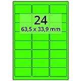 Labelident farbige Etiketten leuchtgrün - 64 x 34 mm - 2400 Farbetiketten auf 100 Blatt
