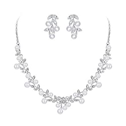 Clear Silver-Tone Pearl Vine Leaf Bowknot Necklace Earrings Set