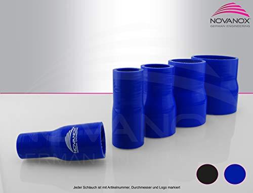 Reduzierstück Silikon - Größe wählbar - Silikonschlauch Kühlerschlauch flexibel Universal Turbo Rohr, Farbe:Schwarz, ID x ID:Ø 48-30 mm