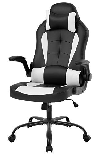 OffiClever Racing Style Office High Back Desk Executive PU Leather Rolling Task Swivel Computer with Lumbar Support Headrest, White