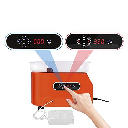 KKTECT Máquina de alfarería Rueda de cerámica eléctrica de 350W 25CM Artesanías De Arcilla De Cerámica Herramientas para manualidades de bricolaje con lavabo ABS extraíble (naranja)