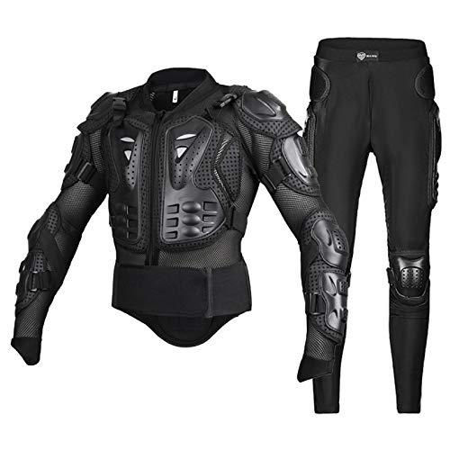 WSZOK Bulletproof Ropa de Motocicleta Cuerpo Protectora Chaqueta Guardia Moto Motorcross Armadura Armadura de Carreras Ropa de Protección Equipo Negro Xxl