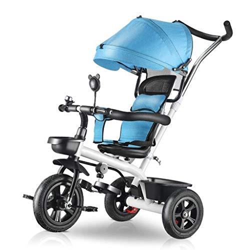 GYF Triciclos for niños al Aire Libre 1-6 años Niñas Niños 4 en 1 con empuñadura Triciclos Sombrilla for niños Triciclo con Varilla Plateada 4 Colores (Color : Blue)