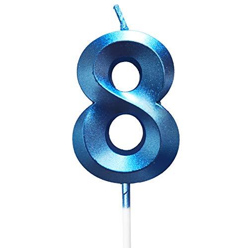 Happyhours Geburtstag Zahl Blau Kerzen Kuchenkerzen Nummer Kerzen Kuchen Dekoration (blau-8)