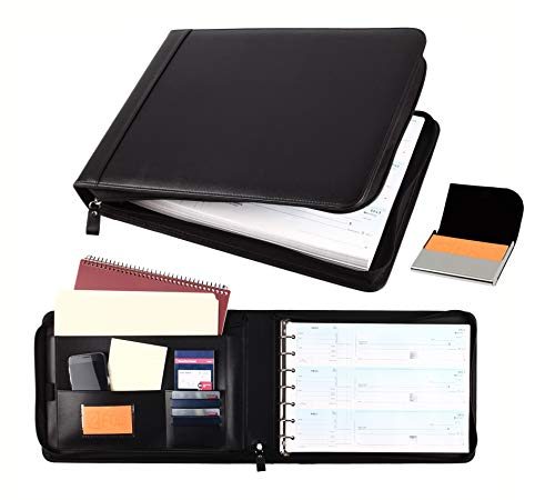 2Fold Supply Zippered Business Check Binder 7 Ring for 3-Up Business Size Checks with Extra Business Card Case - PU Leather Deluxe 7 Ring Checkbook Binder Portfolio with 600 Check Capacity and Storage