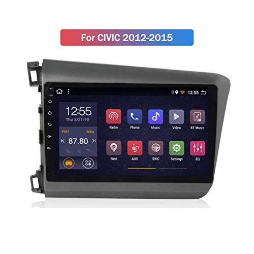 HP CAMP Android 9.1 8 Core Autoradio für Honda Civic 2012-2015, Supporta la Fotocamera di Backup/Microfono/CarPlay/DSP/Bluetooth 5.0 / SWC/mappe Offline Online,4g WiFi 2g+32g