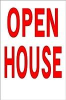 シンプル縦型看板 「OPEN HOUSE(赤)」不動産 屋外可(約H45.5cmxW30cm)