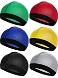 6 Pieces Kids Silky Satin Wave Caps Unisex Baby Beanie Caps 360 Wave Wide Strap Skull Caps (Green, Red, Blue, Yellow, Black, Gray)
