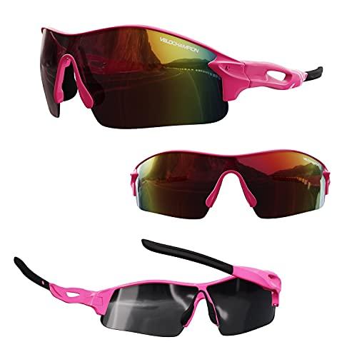 VeloChampion Warp Ciclismo Conducción MTB Gafas de Sol híbridas Correr Gafas Deportivas Protección UV400 y 2 Lentes de Repuesto incluidos (Rosa)
