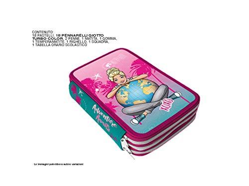 MC SRL Astuccio Scuola 3 Cerniere Compatibile con Barbie Completo di CANCELERIA Giotto