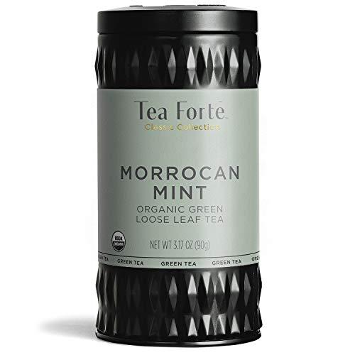 Tea Forte Organic Green Tea, Makes 35-50 Cups, 3.17 Ounce Loose Leaf Tea Canister, Moroccan Mint