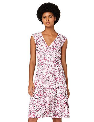 Amazon-Marke: TRUTH & FABLE Damen Wickelkleid aus Jersey, Mehrfarbig (Pink Ground Floral), 34, Label:XS