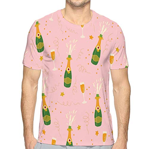 Men's Short-Sleeve O-Neck T-Shirt Champagne Bottles Glasses Pink ba Hand Drawn Explosion Flutes Coordinate sip See Positive