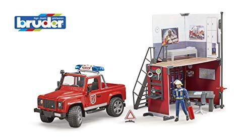 bruder 62701 Bworld Feuerwehrstation mit Land Rover Defender