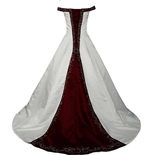 Kivary White and Burgundy A Line Beaded Embroidery Off Shoulder Wedding Dresses Plus Size US 16W