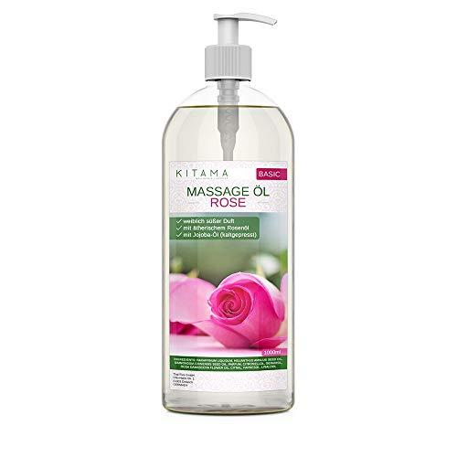 Kitama Aroma Massageöl Rose 1000ml I Pflegendes Körperöl für Massagen I Aroma-Öl für Massage, Thai-Massage & Spa