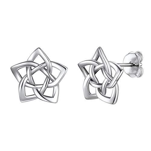 925 Sterling Silver Celtic Knot Earrings for Women Teen Girls, Small Irish Celtic Eternity Flower Love Knot Pentagram Earrings Tiny Delicate Star Studs Hypoallergenic Piercing Earrings