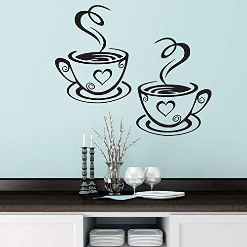 Pegatinas de pared de doble taza de café, tazas de té de hermoso diseño, decoración de habitaciones, pegatinas de vinilo para pared, pegatinas adhesivas, pegatinas de decoración de cocina A5 31x18,7cm