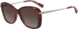 LONGCHAMP Women's Sunglasses Rectangular LCMP ROSEAU MARBLE BROWN RED