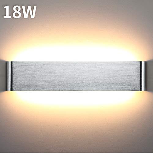 Lightess 18W Wandleuchte Innen LED Treppenhaus Lampen Moderne Wandlampe Silber mit Up Down Licht IP44 aus reinem Aluminium für Wohnzimmer Schlafzimmer FlurTreppen usw, Warmweiss