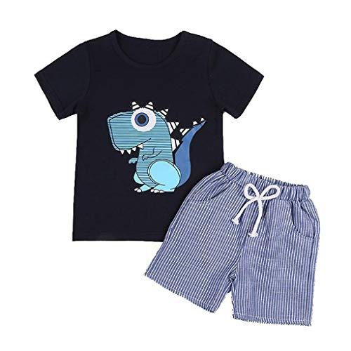 2-7 Años,SO-buts Niño Niño Bebé Niños Conjunto De Camiseta De Dinosaurio De Dibujos Animados De Verano + Conjunto De Ropa De Pantalón Corto a Rayas (Negro,3-4 años)