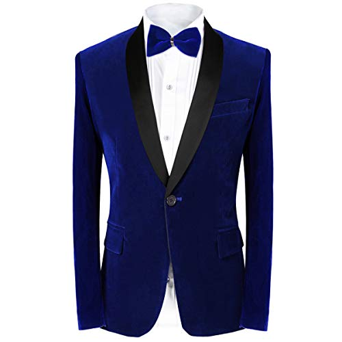 MAGE MALE Men's 2-Piece Suit Velvet Blazer Tuxedo Slim Fit One Button Stylish Dinner Jacket & Pants & Bow Tie (Blue, X-Large)