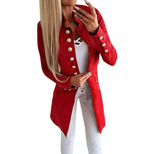 Longra Damen Jacke Blazer Admiral Uniform Mantel mit Knopfleiste Military Coat Lang Blazer Slim Fit Blazer Jacke Elegant Freizeit Stehkragen Business Büro Anzug Jacken (M, Rot)