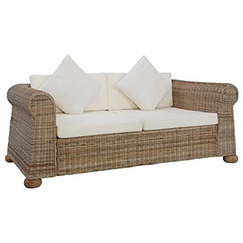 Susany Sofa de Ratan Sofá de 2 Plazas con Cojines Ratán Conjuntos de Muebles de Jardín Natural