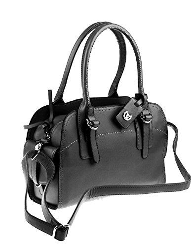 Valleverde Satchel Bag Italy Tasche Schultertasche Handtasche Henkeltasche Leder-Optik(Nero/schwarz)