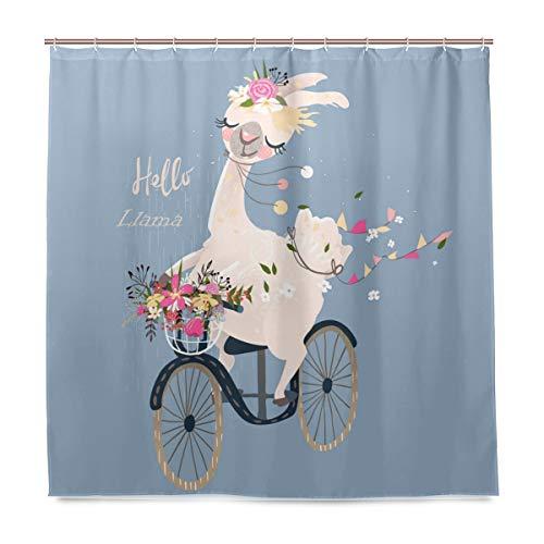Romantischer Llama Alpaka Floral Badezimmer Duschvorhang Liner Home Decor Flaggen Vintage Fahrrad Durable Stoff Schimmelresistent Wasserdicht Badewanne Vorhang Tuch mit 12 Haken 183,0 cm x 183 cm