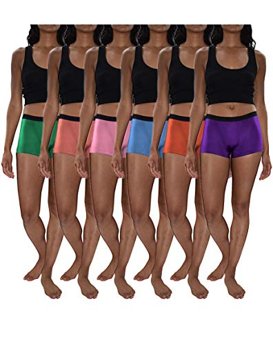 Sexy Basics Women's 6 Pack Modern Active Boy Short Boxer Brief Panties (6 Pack- Cherry/Boy Blue/PinkLavender/Dalia/ArcadiaBlue/UlraViolet, Medium)