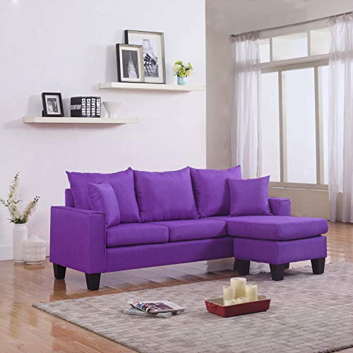 Divano RomaFurniture Modern Linen Fabric Small Space Sectional Sofa with Reversible Chaise (Light Grey), Purple
