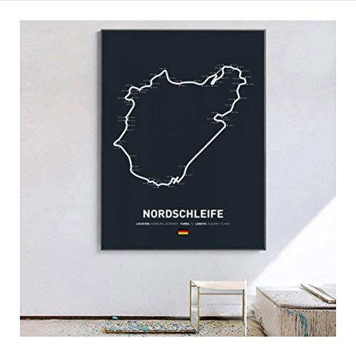 meilishop Druck Auf Leinwand Formel 1 Rennposter Nordschleife F1 Circuit Home Dekoration Wandkunst Leinwand Stoff Stoff Druck Bilder A456 (40X60Cm) Ohne Rahmen