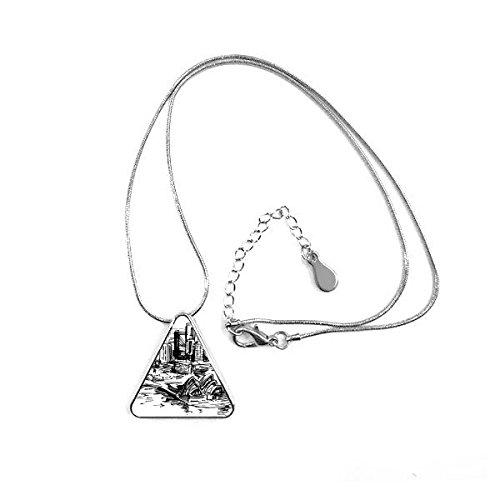 Doe-het-zelf vorm als referentie Australië Sydney Opera bos huis driehoek sieraden oorbellen met ketting decoratie