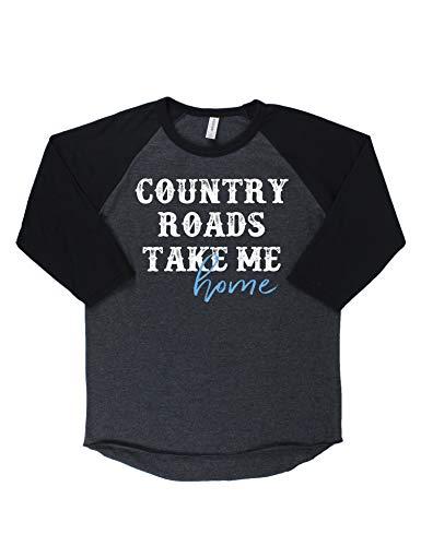 B-Wear Sportswear Country Roads Take Me Home West Virginia Graphic Raglan Baseball T-Shirt Tee Black Heather/Black