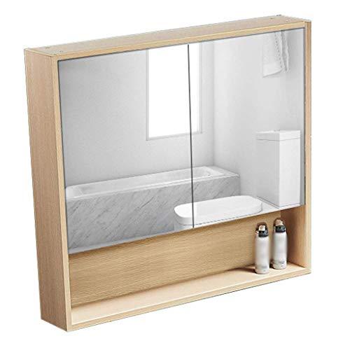 XCJJ Massivholz-Badezimmerschrank mit Spiegel, Waschbecken- / Waschtischwandschrank, mit offenen Regalen, Aufbewahrungsschrank für moderne Medizinschränke, Doppel- / Drei-Türen, hohle Rückwand,Holzfa