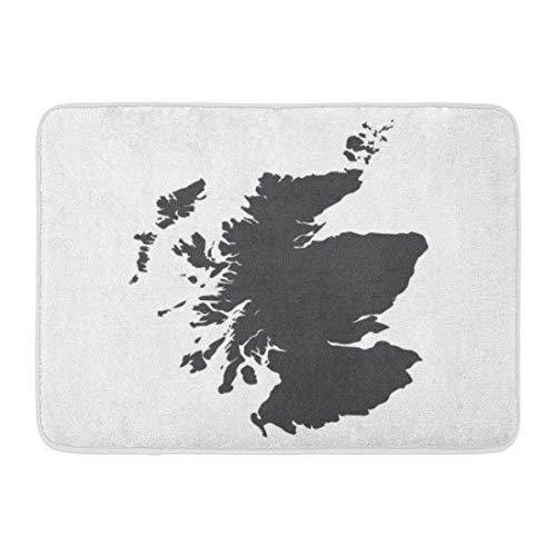 YnimioHOB Fußmatten Bad Teppiche Outdoor/Indoor Türmatte Grün Umriss Schottland Karte in Schwarz auf Topographie Abstrakt Afrika Bereich Badezimmer Dekor Teppich Badmatte